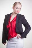 Beautiful businesswoman on white — Stock Photo