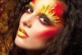 Fashion red make-up, beautiful woman — Stock Photo