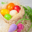 Easter eggs in the basket — Photo