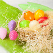 Easter eggs in the basket — Stockfoto