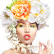 Stock Photo: Beautiful and fashion woman with flower wreath