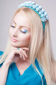 Portrait of glamour blonde lady with floral wreath — Stock Photo