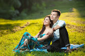 Beautiful couple in park — Stock Photo
