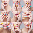 Foto Stock: Collage , womface with rainbow makeup and manicure