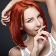 Red hair. Beautiful Woman with Short Hair — Stockfoto