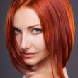 Red hair. Beautiful Woman with Short Hair — Stock Photo
