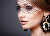 Portrait of glamour lady with fashion wreath — Stock Photo