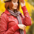Autumn portrait of beautiful young girls in casual style — 图库照片