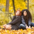Autumn portrait of beautiful young girls in casual style — Стоковая фотография