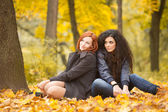Autumn portrait of beautiful young girls in casual style — Stock Photo
