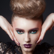 Fashion beauty portrait of sexy woman with creative hairstyle and make-up — Stock Photo