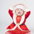 Santa Claus baby girl, studio shot — Stock Photo