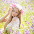 Foto Stock: Beautiful womenjoying in nature