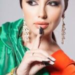 Fashion portrait of beautiful woman in indian sari — Stock Photo