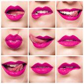 Röda läppar, närbild porträtt — Stockfoto