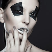 Creative make-up of fashion lady, close-up shot — Foto Stock