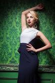 Sexy woman wearing fashion long dress  in a stylish room — Stock Photo