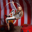 Fashion acrobat woman in circus — Stock Photo