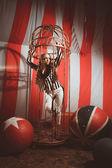 Fashion acrobat woman in circus — Stock Photo