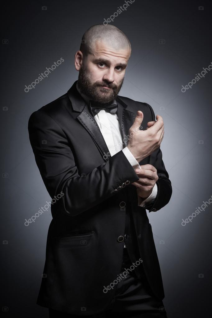 Brilliant Stylish And Brutal Bald Man With A Beard In Elegant Black Suit Short Hairstyles Gunalazisus