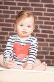 Closeup portrait of beautiful baby girl , studio shoot — Stock Photo