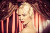Retro portrait of beautiful blonde woman. Vintage style — Zdjęcie stockowe