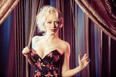 Retro portrait of beautiful blonde woman. Vintage style — Stock Photo