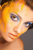 Fashion makeup with colored sand shadows, close up studio shot — Stock Photo