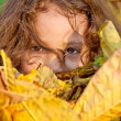 Little Girl Playing With Autumn Leaves — Stock Photo