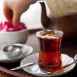 Drinking Traditional Turkish Tea With Friends — Stock Photo #17698751
