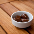 Chocolate balls In A White Dish — Stock Photo