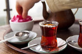 Drinking Traditional Turkish Tea With Friends — Stock Photo