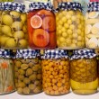 Pickled Vegetables And Fruit In Jars — Stock Photo