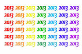 Year 2013 text with different textures of seven colors of the rainbow — Stock Photo