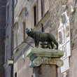 Statue she-wolf with Romulus and Remus on place of foundation of Rome, Italy. — Stock Photo