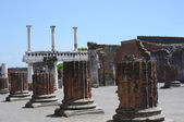 Pompeii ruins near volcano Vesuvius, Italy — Stock Photo