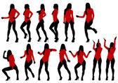 Chicas en rojo — Foto de Stock