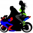 Women on motorcycle — Vector de stock #26078125