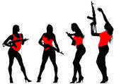 Woman with gun — Stock Vector
