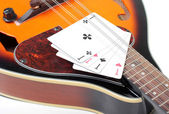 Mandolin and card — Stock Photo