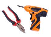 Electric screwdriver and ticks — Stock Photo