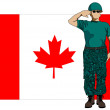 Canada flag and soldier — Stock Vector