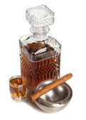 Whiskey and cigar — Stock Photo