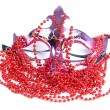 Stock Photo: Mask and red beads