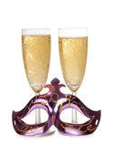 Mask and champagne glass — Stock Photo