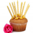 Cupcake with a candle — Stock Photo