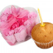 Cupcake and candle — Stock Photo