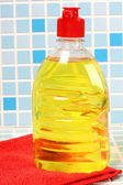 Cleaning bottle on tile — Stock Photo