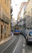 The famous old tram on street Lisbon (Portugal). November, 2013. — Foto Stock