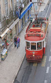 The famous old tram on street Lisbon (Portugal). November, 2013. — Stockfoto